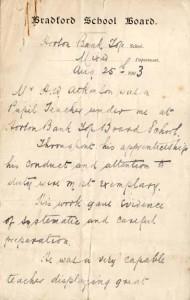 Bradford School Board letter. August 1903